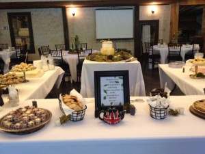 Reception buffet set-up in the rustic venue of Hollow Hill located just northwest of downtown Ft. Worth
