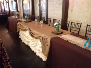 Reception head table for the wedding party