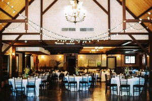 This indoor reception room at Hollow Hill Event Center is lit up and ready for a celebration
