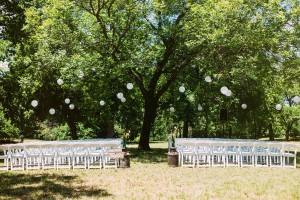 Outdoor ceremony beneath the native pecans and rolling hills of Parker County