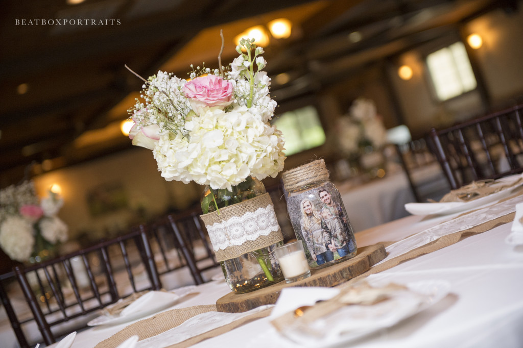 Casual wedding reception table centerpieces