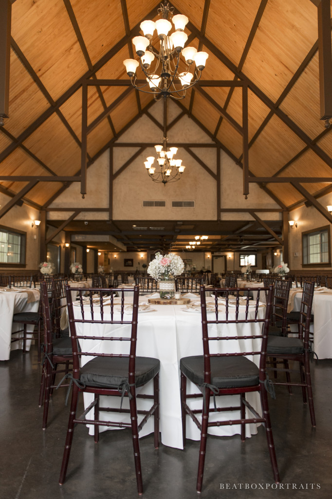 A casual country wedding reception set up in Hollow Hill's great room