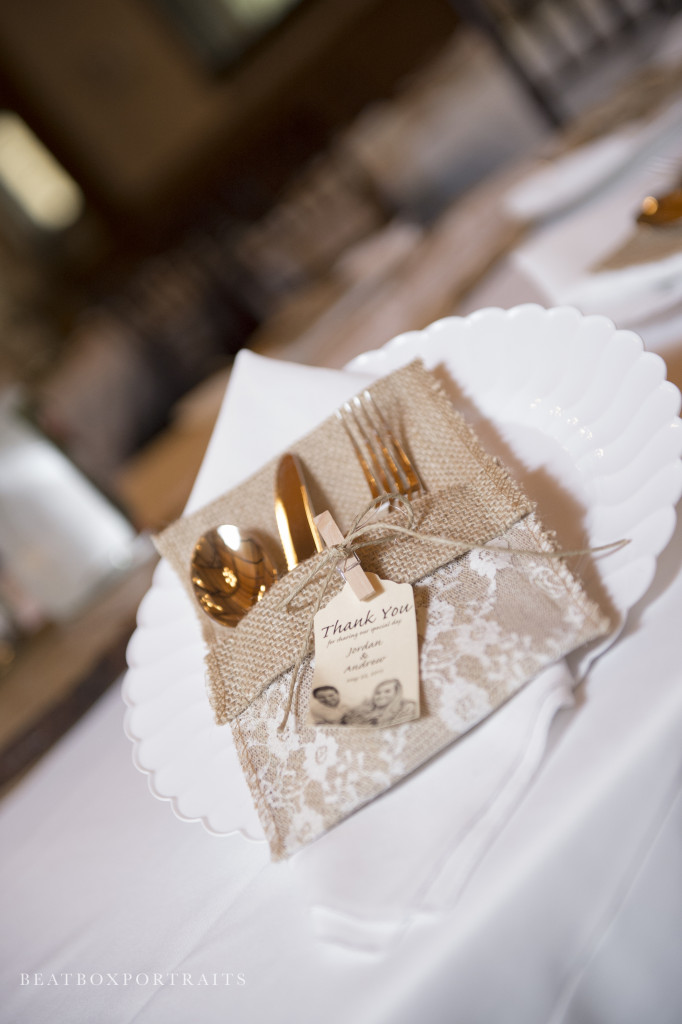 Burlap utensil holder for wedding reception table scape