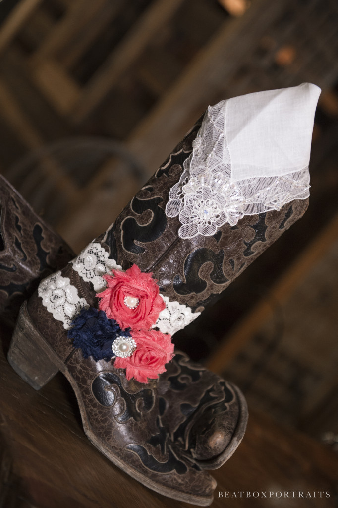Bridal western boots fit right in with the rustic style of Hollow Hill Event Center