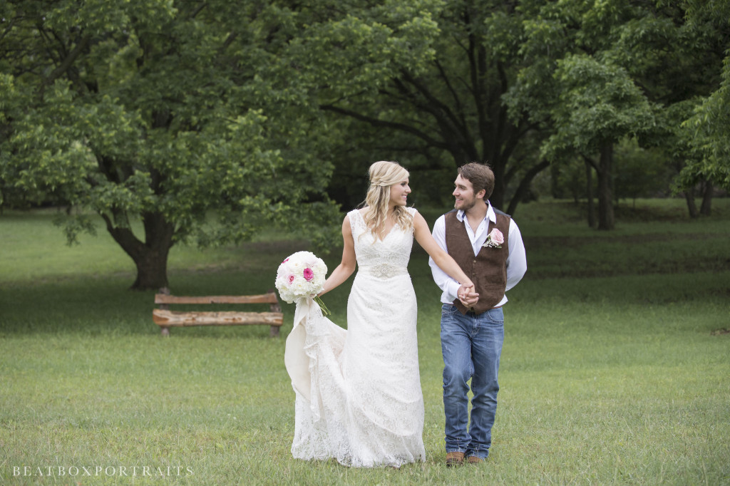 Happily married couple taking a relaxing walk at Hollow Hill in Weatherford, TX