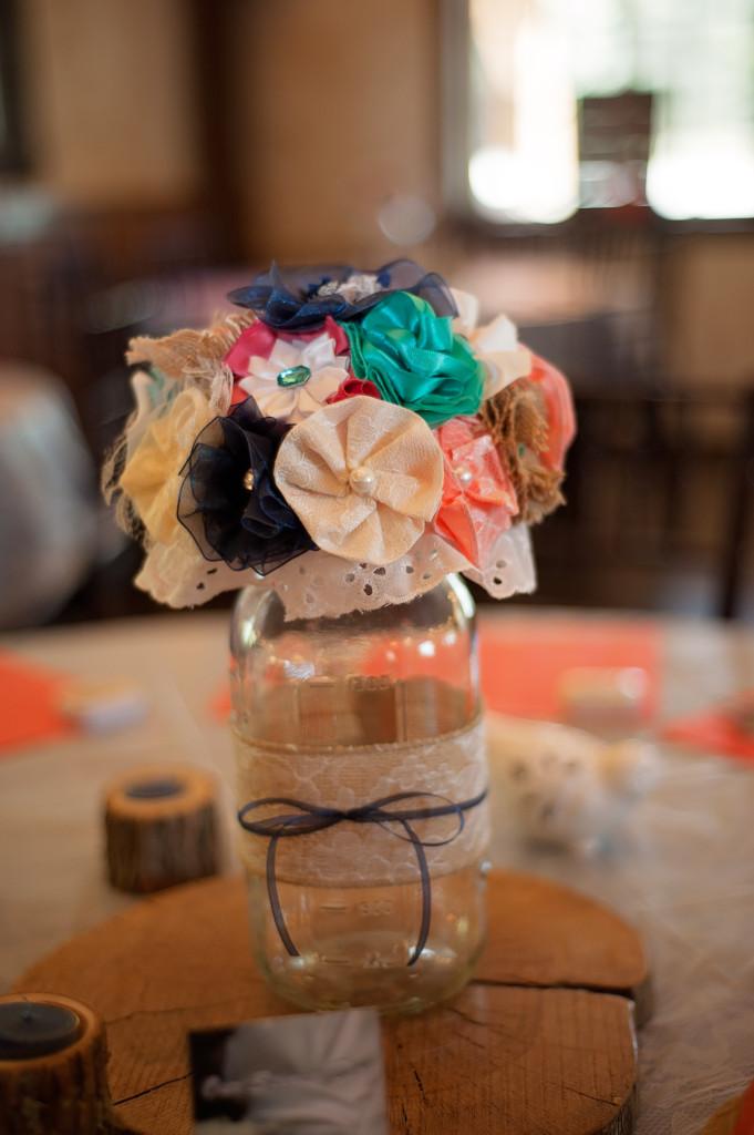 Fabric floral centerpiece