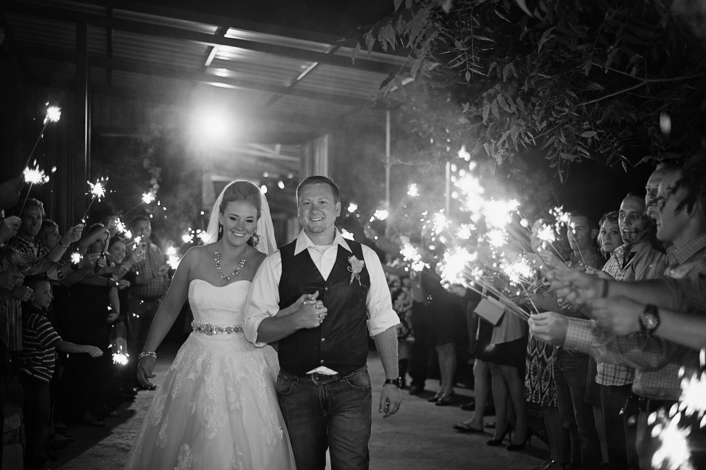 Sparklers are a popular way to say goodbye to the bride and groom