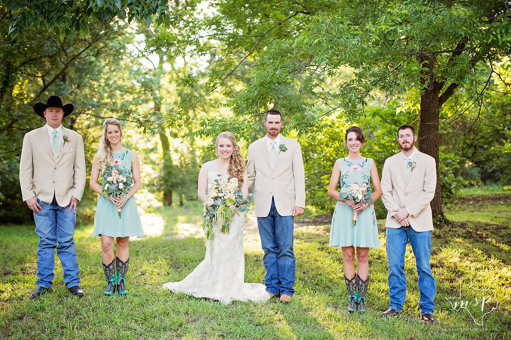 wedding party in the pecan grove