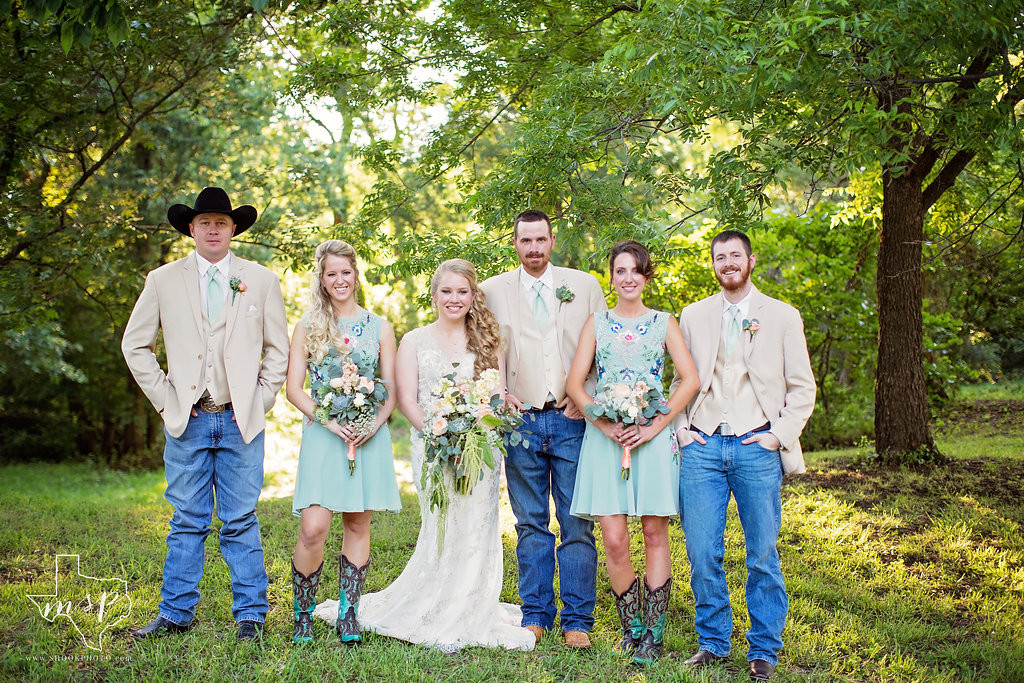 Wedding party of six in the pecan grove