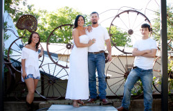 wagon wheels at hollow hill wedding venue
