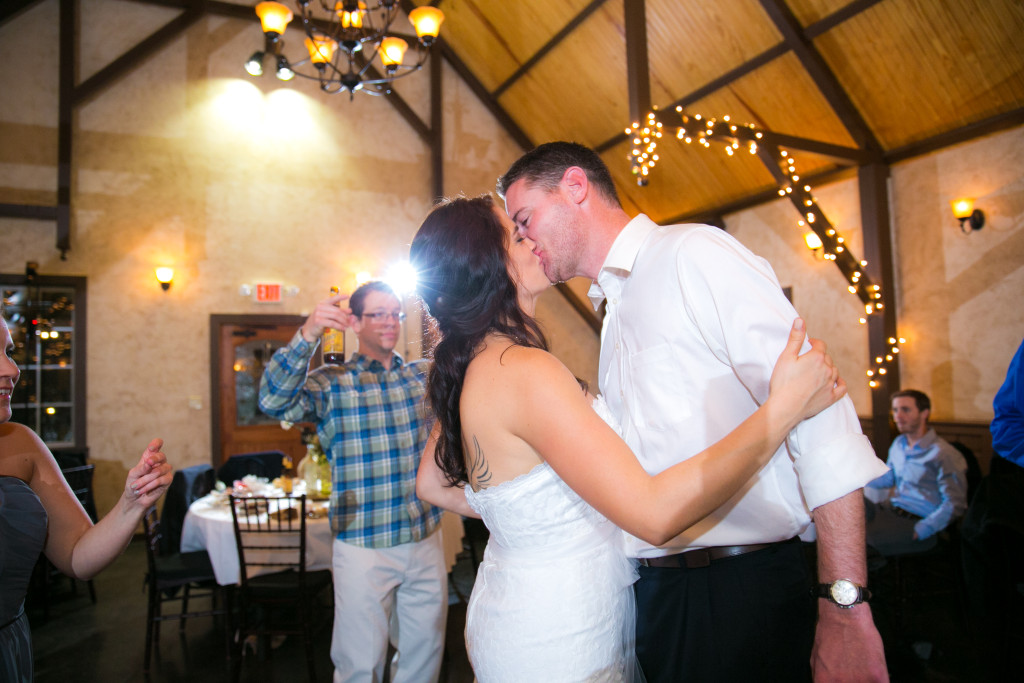 Indoor wedding reception celebration