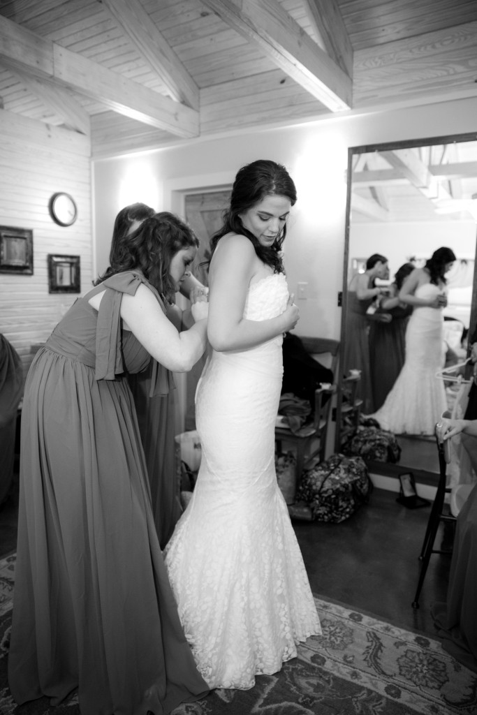 Final touches are taken care of in Hollow Hill's bridal dressing area