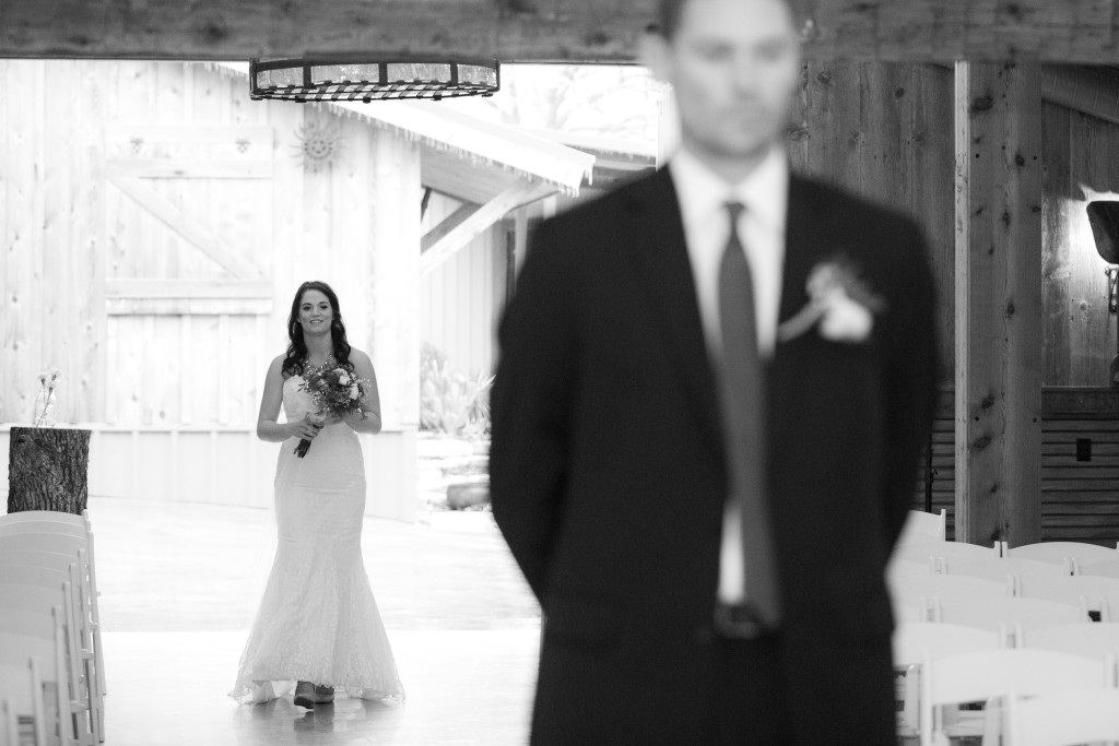 The bride's grand entrance into the barn in Weatherford, TX