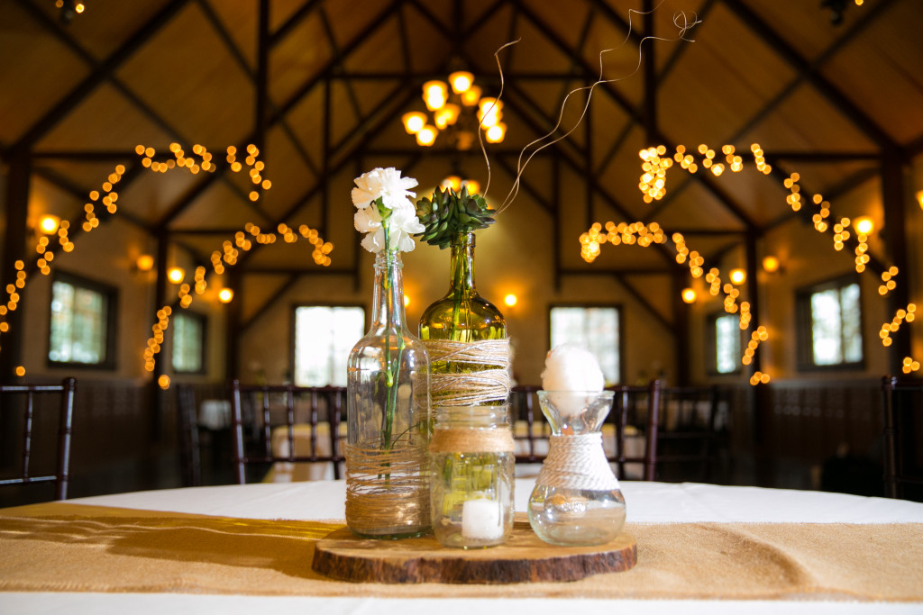 Hints of gold indoor wedding reception