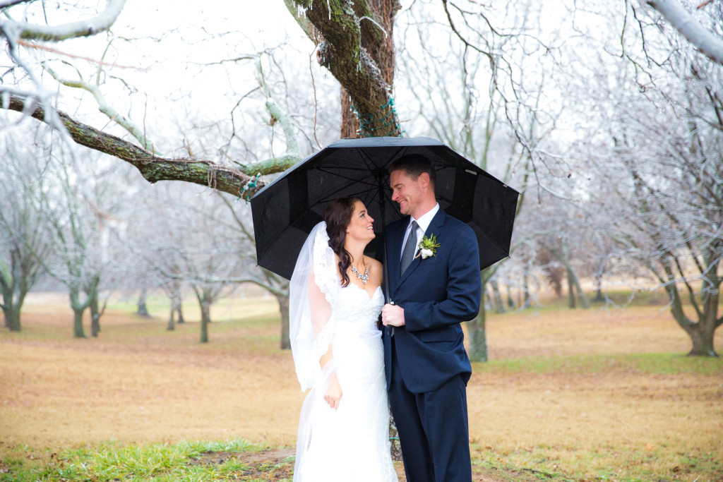 Frosty outdoor winter wedding in the pecan grove at Hollow Hill