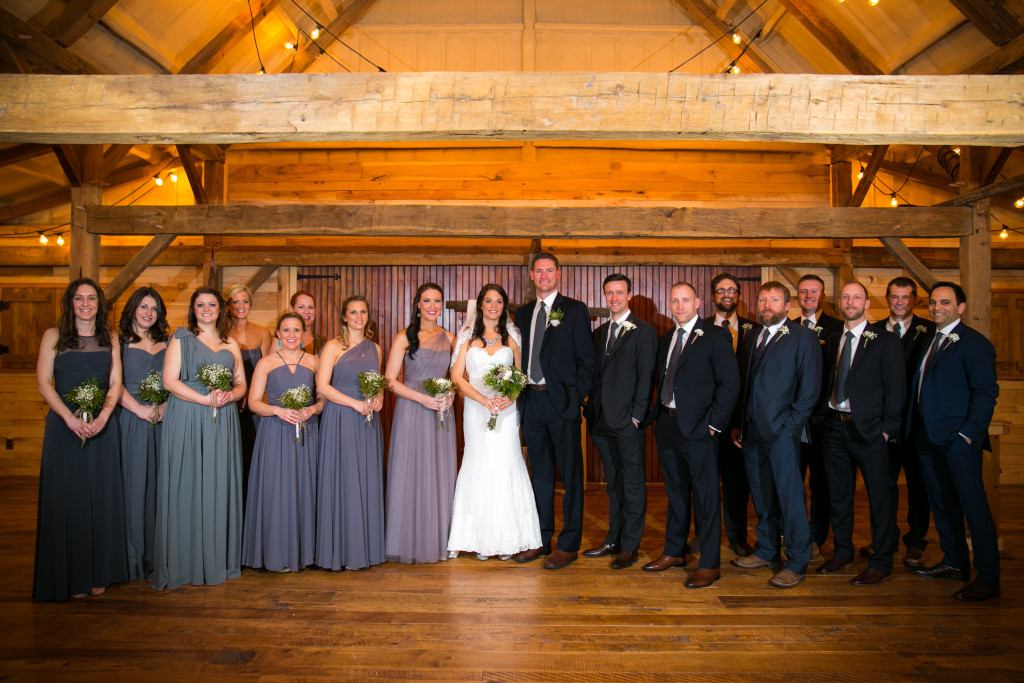 Wedding party in antique rustic barn, Fort Worth